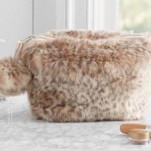 Pottery Barn Fur Zip Pouch /Cosmetic with Pom Pom